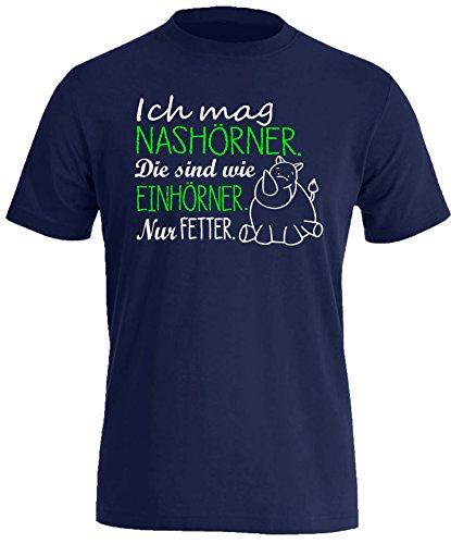 Ich mag Nashörner, die sind wie Einhörner - nur Fetter! - Herren Rundhals T-Shirt Navy/Weiss-neongruen