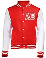 KIDS VARSITY JACKET WITH FRONT INITIAL PERSONALISATION (Fire Red / White) By 123t