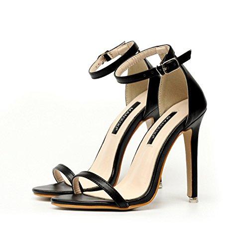 GS~LY Semplice, bare-toed, cavo-velcro femmina, sandali. Black