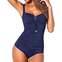 Badeanzug Damen Bauchweg 2019 Sexy Einteiler Bademode Damen Schwimmanzug Monokini Damen Sexy Rückenfrei Einfarbig Badeanzug Damen Schwarz S-XL,
