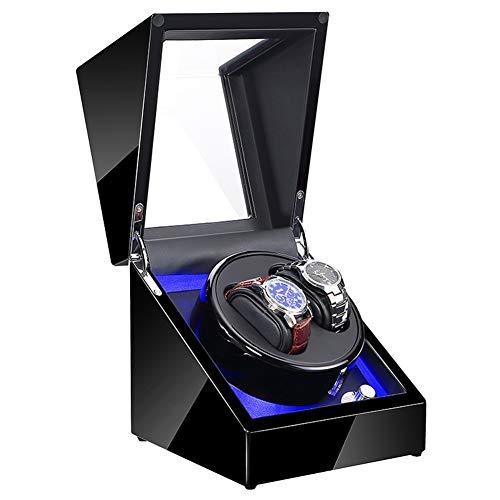 Doppelt Automatisch Uhrenbeweger Box Hölzern, LED-Beleuchtung Leiser Motor Zum 2 Uhren, Watch Winder Die Meisten Mechanisch Uhren
