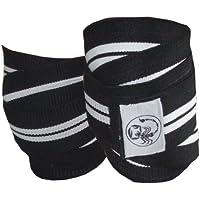 Scorpion Power Lifting Weight Lifting Knee Wraps. Elasticated Power Lifting Knee Support Bandage. 2 metre Black / White Straps