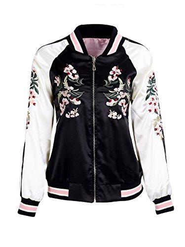 Simplee Apparel Damen Jacke Übergang Blumen Stickerei Satin Reversibel Baseball Jacket Bomberjacke Rosa Schwarz