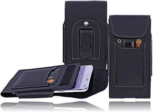 Iphone Gürtel Leder Case Clip 5s (Burkley - Vintage Design - Leder Handyhülle für Apple iPhone SE / 5 / 5S Gürteltasche | Schutzhülle | Handytasche | Vertikal-Tasche | Holster | Case | Cover | Hülle mit Gürtel-Schlaufe und Gürtel-Clip (Schwarz / Vertikal))