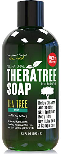 Antifungal Soap with Tea Tree Oil & Neem 12oz. Helps Wash Away Athletes Foot, Body Odor, Acne, Jock Itch, Nail Fungus, Ringworm. Foot & Body Wash. 100% Natural Care & Defense Against Skin Irritation by Oleavine
