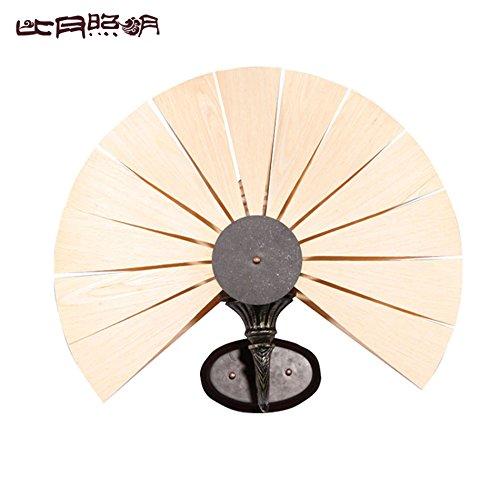 BBSLT Impiallacciatura lampada da comodino Asia sud-orientale camera da letto salotto luci personalità creativa navata lampada da parete 500 * 440mm , oak