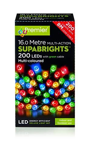 200 Coloured Led Multi Christmas Lights Premier Supabrights qSVMUzp