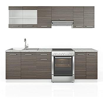 Vicco küche 240 cm küchenzeile grau küchenblock einbauküche edelgrau frei kombinierbare einheiten
