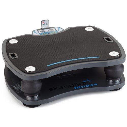 skandika Home Vibration Plate 500, Profi Vibrationsgerät, inklusive Trainingsbänder mit großer rutschsicheren Trainingsfläche, Fernbedienung und kraftvoller 3D-Vibration, anthrazit/schwarz