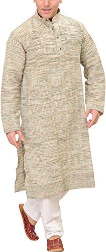 Exotic India Men's Pure Handspun Khadi Kurta Pyjama - Color Silver GreenGarment...