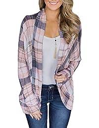 e8acf823d732d0 Primavera e Autunno Donne Cardigan Moda Quadri Tops Shirts Coat Camicie  Outwear Maglione Casual Manica Lunga