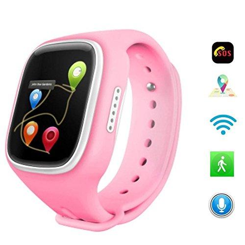 Preisvergleich Produktbild Joyeer Smart Watch For Kids GPS + Wifi + GNEZ + Basisstation Kinder Armbanduhr mit SIM-Karte GSM-Telefon Anti-lost für Android IOS , pink