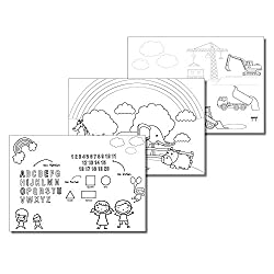 DIN A3 Mal-Vorlagen für Kinder I dv_103 I Set mit 30 Blatt I 3 Motive zum Ausmalen I Baustelle Zoo Schule I Neutral Mädchen Jungen weiß