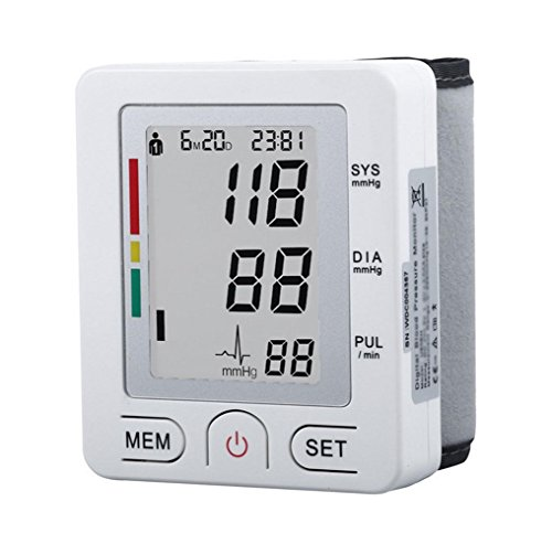 HRRH Handgelenk Blutdruck-Monitor - Full Automatik Intelligente LCD Digital Heartbeat und einstellbare Handgelenk Manschette Perfekt Genau für ältere Familie Nutzen Gesundheit Monitoring Sphygmomanometer, Weiß