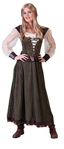 Karneval-Klamotten Robin Hood Kostüm lang Lady Marian Damen-Kostüm grün-braun-Creme Kleid Größe 44/46