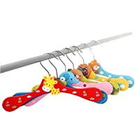 HuntGold 5X Baby Kids Wardrobe Cartoon Wooden Coat Clothes Pants Hook Hanger Rack Stand(random)