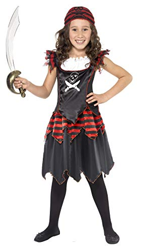 Smiffys Kinder Pirat Totenkopf und gekreuzte Knochen Mädchen Kostüm, Kleid und Kopftuch, Größe: M, 32341