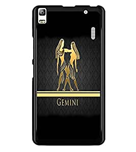 PrintDhaba Zodiac Gemini D-4301 Back Case Cover for LENOVO A7000 (Multi-Coloured)