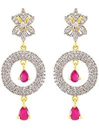 Fasherati CZ und Pink Stone verzierte kreisförmige Ohrringe für Frauen