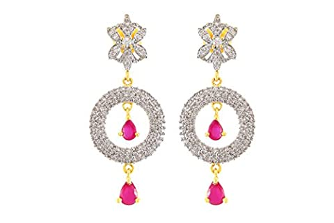 Fasherati CZ and Pink Stone Studded Circular Earrings for Women