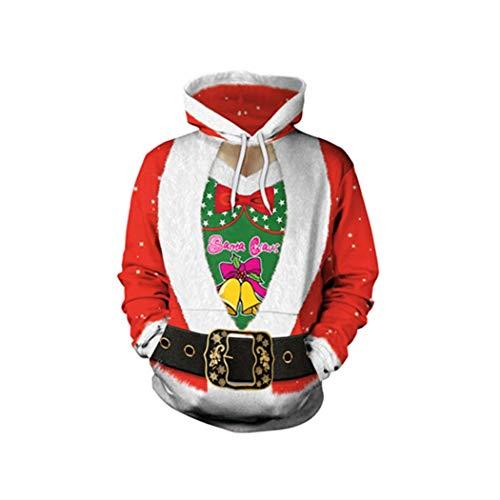 SWEAAY Hässliche Weihnachten Kapuzenpullover Pullover Santa Elf Männer Frauen 3D Digitaldruck Herbst Winter Tops Kleidung, 19, M