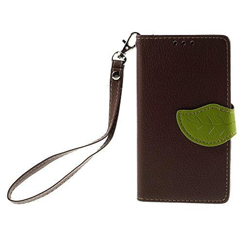 [A4E] Handyhülle passend für Apple iPhone 7 Plus Kunstleder Tasche, Flip Cover, seitlicher Magnetverschluss, Standfuß, Kreditkartenfächer, Handschlaufe, mit floralem Blatt Muster (grün, braun) braun