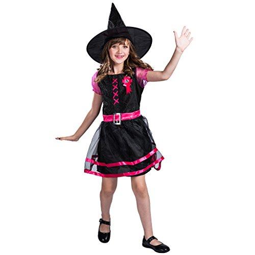 EraSpooky Hexenkostüm für Kinder Halloween Weißnachten Kostüm Mädchen Hexenkleid und Hut