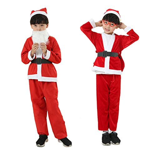 Kostüm Halten - Komfortable Weihnachten Kinder Kleidung Set Kinder Jungen Mädchen Warm halten Rot Weihnachtsmann Anzug Cosplay Kostüme (Farbe: rot) (Größe: 6-8 Jahre (Junge))