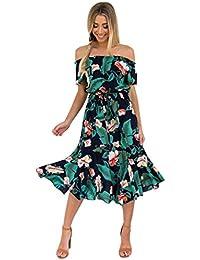 Vestidos Hombro Descubierto Con Volantes Mujer LHWY, Vestidos Bohemios Con Estampado De Floral Vestidos De