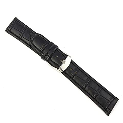 Bovake18~22mm Soft Leather Strap Steel Buckle Wrist Watch Band (22mm, black)