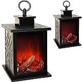 Unbekannt LED Kaminfeuer - große Laterne - mit Timer - echter Kamin Flammen Effekt - 29 cm - Batterie betrieben - kabellos - Innen & Außen - aus Kunststoff + Glas - Kam..