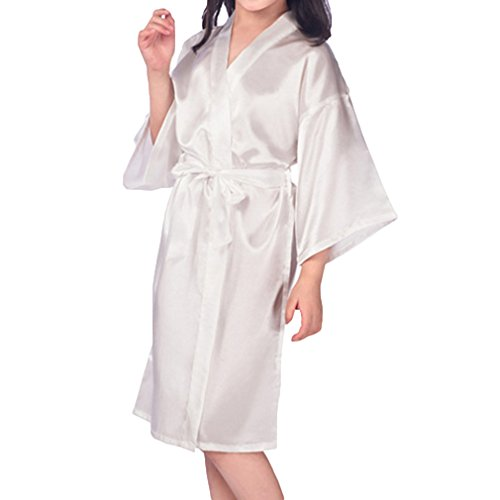 MEIHAOWEI Kid's Dressing Gown Satin Kimono Robe Bathrobe Nightgown for Spa Wedding Birthday Party