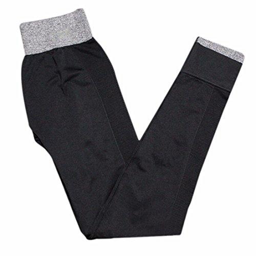 QIYUN.Z Femmes Leggings Taille Haute Yoga Sportif Gymnase Pantalons De Course De Remise En Forme Leggings Elastiques Noir Version Amelioree