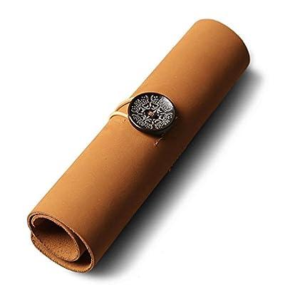 Fait à la main en cuir véritable Stylo de papeterie sac étui à crayons Supplies Rouleau de support clé Étui vintage Unisexe pour outils de maquillage, écouteurs, câble de données, câble USB, chargeur, stylo, key- Kaki