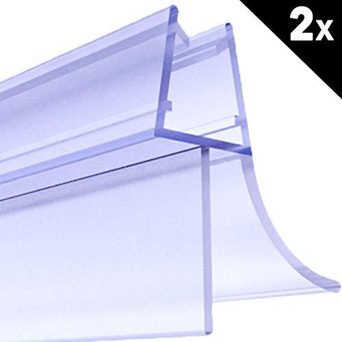 Premium 2 x 80 cm Duschdichtung   Duschkabinen-Dichtung für 6mm 7mm 8mm Glasdicke   Duschtür Dichtung mit verlängerten Gummilippen   Wasserabweiser mit Schwallschutz   Ersatz Duschtürdichtung