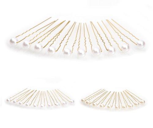 10 épingles à cheveux ornées de perles - accessoire pour cheveux/coiffure de mariée - Épingle à cheveux dorée - blanc