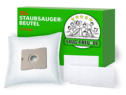 20 Staubsaugerbeutel + 2 Filter geeignet für SEVERIN BC 7045 S\'Power Snow White, BC 7045 S\'Power, BC 7055 S\'Power SnowWhite XL, QUIGG 5390, von SAUG-FREUnDE Made in Germany
