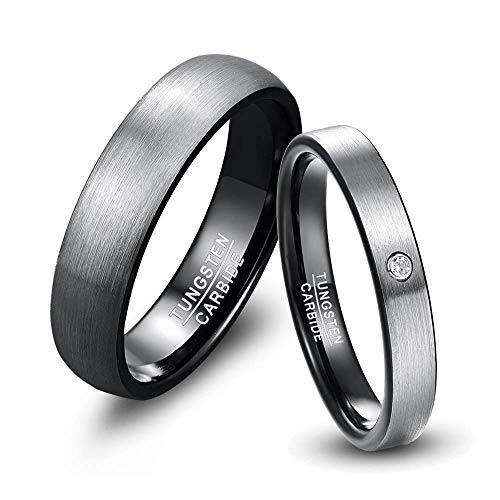 NUNCAD Paar Ringe Eheringe 4mm 6mm breit, Wolfram Ring Herren/Damen grau-schwarz für Hochzeit, Verlobung, Alltag und Hobby, Größe 67 (27)