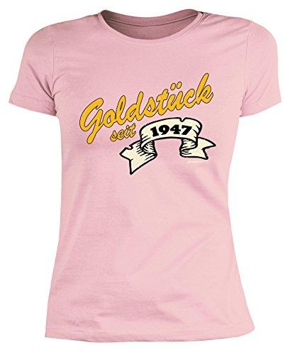 Damen T-Shirt zum Geburtstag: Goldstück seit 1947 - Tolle Geschenkidee - Baujahr 1947 - Farbe: weiss Rosa