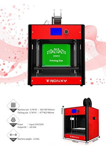 Hohe Präzision Gebaut 3D Drucker Metallrahmen Desktop 3D-Maschine, Unterstützung Multi-Filament FDM Professional 3D Drucker, maximale Druckgröße: 210 * 210 * 210mm (Rote) - 6