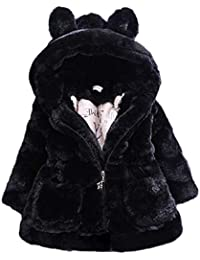 Esponjoso Piel Sintética Chaqueta para Niñas Abrigo con Capucha De Invierno Oreja Grande Outerwear