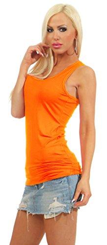5583 Fashion4Young Damen Tank-Top Damentop Shirt Top Slim fit Unterhemd Basic Ringer-Top Neonorange