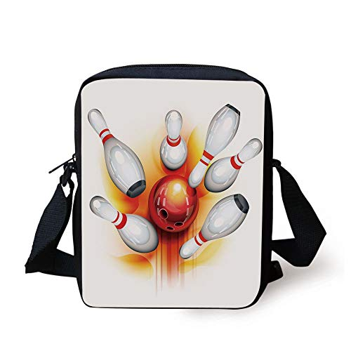 CBBBB Bowling Party Decorations,Red Ball with Spread Skittles Vibrant Abstract Vibrant Art Decorative,Red Orange White Print Kids Crossbody Messenger Bag Purse