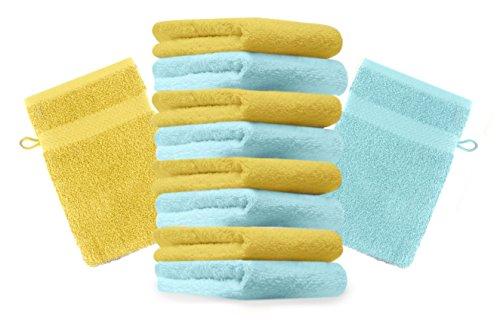 Betz Lot de 10 gants de toilette Premium jaune et turquoise, taille: 16x21 cm