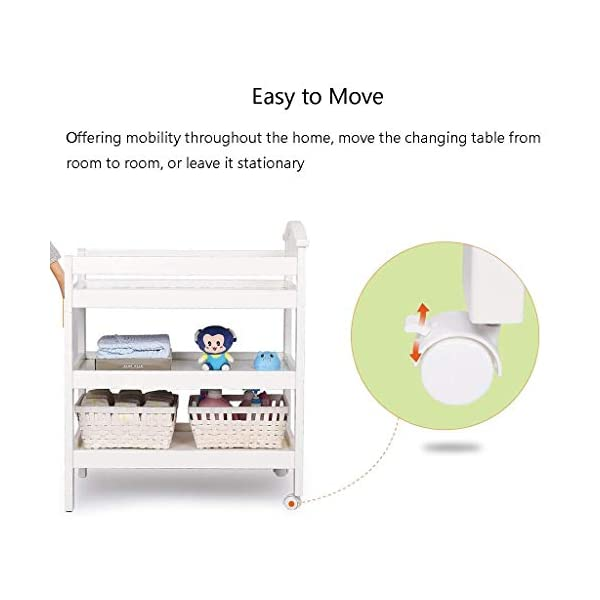Changing Table Changing Table Storage and Bath Foldable Nursery Changing Unit for Infant Portable Baby Changer Diaper Station Dresser (Color : White) Changing Table ●Size and Safe and Stable- 86×55×105cm/ 33×22×41 inch,Suitable for babies weighing less than 25kg,With seat belt,Changing pad has a restraining strap for added safety and is made of easy to clean, soft ●2-in-1 design- Baby changing table can be used as baby massaging table as well. It is designed at the proper height of parent to prevent mom's back aches and pains from kneeling or bending when changing diapers to babies. ●Premium materials - Using high-quality materials for our 2 in 1 infant changing table,Reinforced wood,it is durable and stable for long time daily use,And easy to clean and maintain. 8