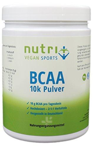 BCAA PULVER Vegan Neutral 500g ohne Zusatz & Süßstoff - 2:1:1 - 99,7% WIRKSTOFF - HÖCHSTE DOSIERUNG - unflavoured - essentielle Aminosäuren