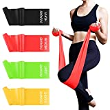 Fitnessbänder 4er-Set 1.8M, Extra Lange Theraband Set Fitnessband Gymnastikband Widerstandsbänder mit 4-Stärken(Leicht, MIttel, Schwer, X-Schwer) Trainingsband für Yoga, Pilates, Reha, Physiotherapie