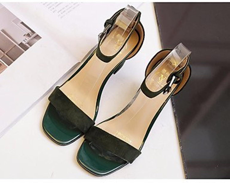 FSCHOOLY Womens Zapatos De Cuero De Nubuck Primavera Otoño Comfort Sandalias Chunky Talón Casual,Ejército Ejército... -