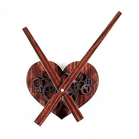 ZUIZU Movement DIY Clock Big Pointer 30CM Metal Texture Heart-Shaped Gear Hanging Clocks Retro Wood