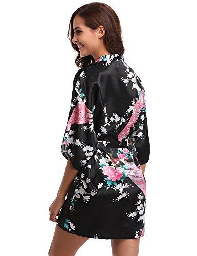Aibrou Donna Vestaglie Scollo a V Kimono Corto da Notte in Raso Con Cintura, Pavone Esotici , Raso Fiore. Pigiama, Camicia da notte, Toga. Black